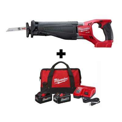 M18 FUEL 18-Volt Lithium-Ion Brushless Cordless SAWZALL Reciprocating Saw W/ 8.0 Ah, 6.0 Ah Battery, Bag & Charger