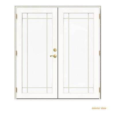 72 in. x 80 in. W-2500 Desert Sand Clad Wood Right-Hand 9 Lite French Patio Door w/White Paint Interior