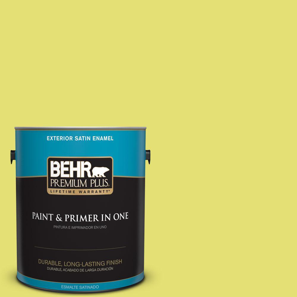 BEHR Premium Plus 1-gal. #400B-4 Citron Satin Enamel Exterior Paint