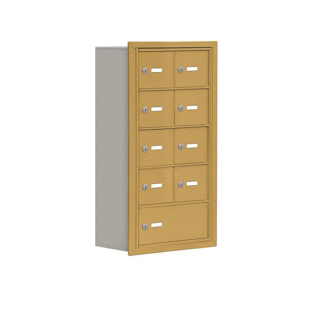 Salsbury Industries 19000 Series 17.5 in. W x 31 in. H x 8.75 in. D 8 A / 1 B Doors R-Mount Keyed Locks Cell Phone Locker in Gold