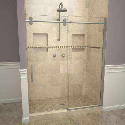 2800V Series 59 in. W x 76 in. H Semi-Frameless Roller Sliding Shower Door in Brushed Nickel with Pull Handles