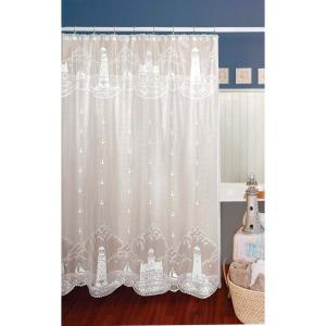 Internet #304707398. Heritage Lace Lighthouse 72 In. White Shower Curtain