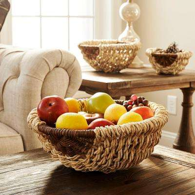 15 in. x 5.9 in Rope and Corn Leaf Round Wicker Bowl Set 3 piece