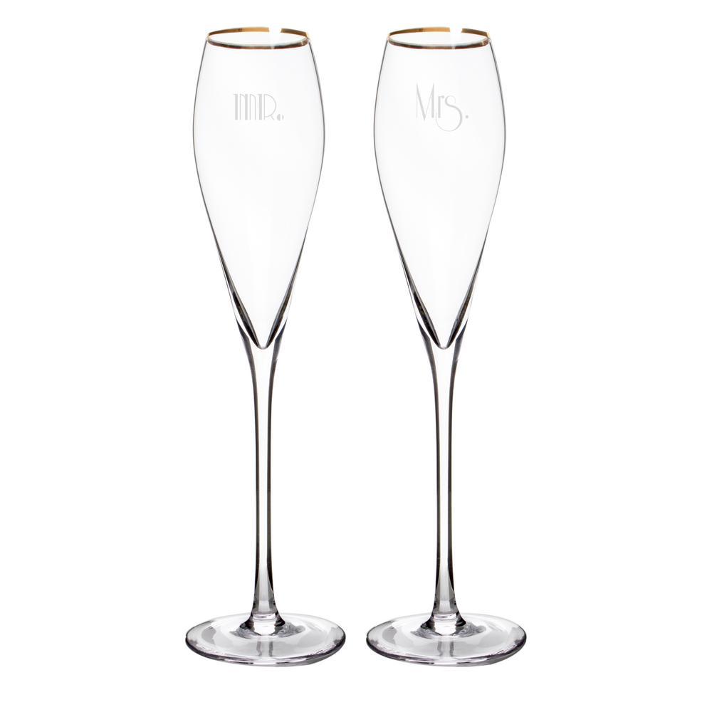 Mr. & Mrs. 7 oz. Glass Gatsby Gold Rim Champagne Flutes