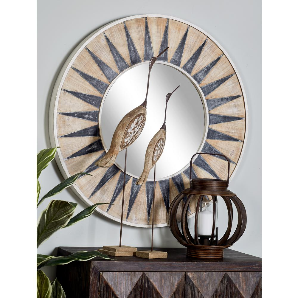 Sun-Inspired Round White Accent Decorative Mirror