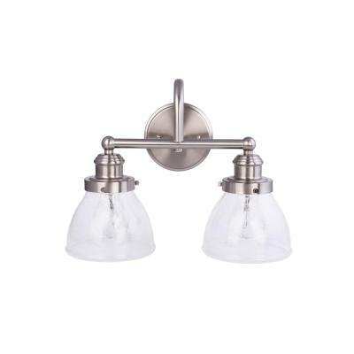 2-Light Brushed Nickel Vanity Light with Clear Seeded Glass Shades