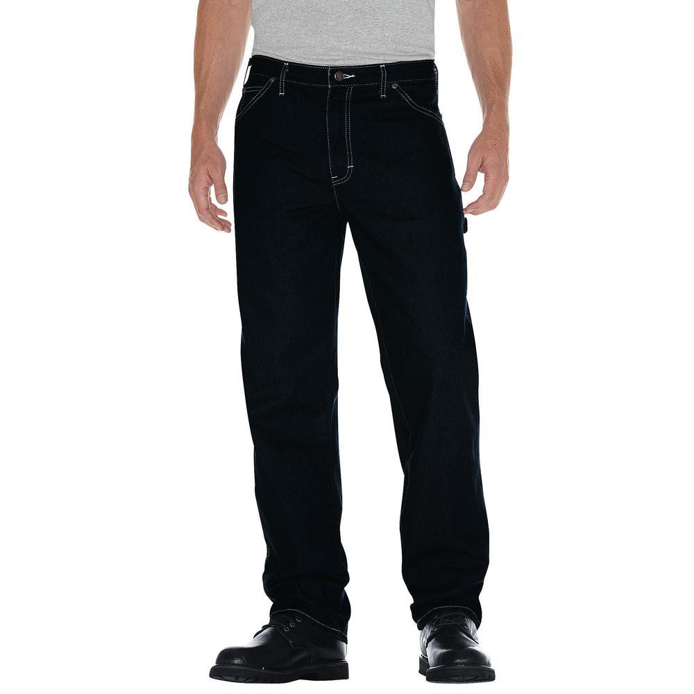 Men's 40 in. x 34 in. Rinsed Indigo Blue Relaxed Straight Fit Carpenter Denim Jean