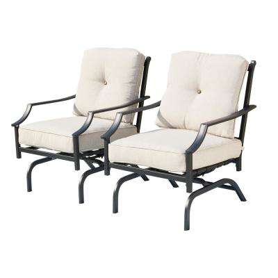 Metal Outdoor Rocking Chair With Beige Cushions (2-Pack)