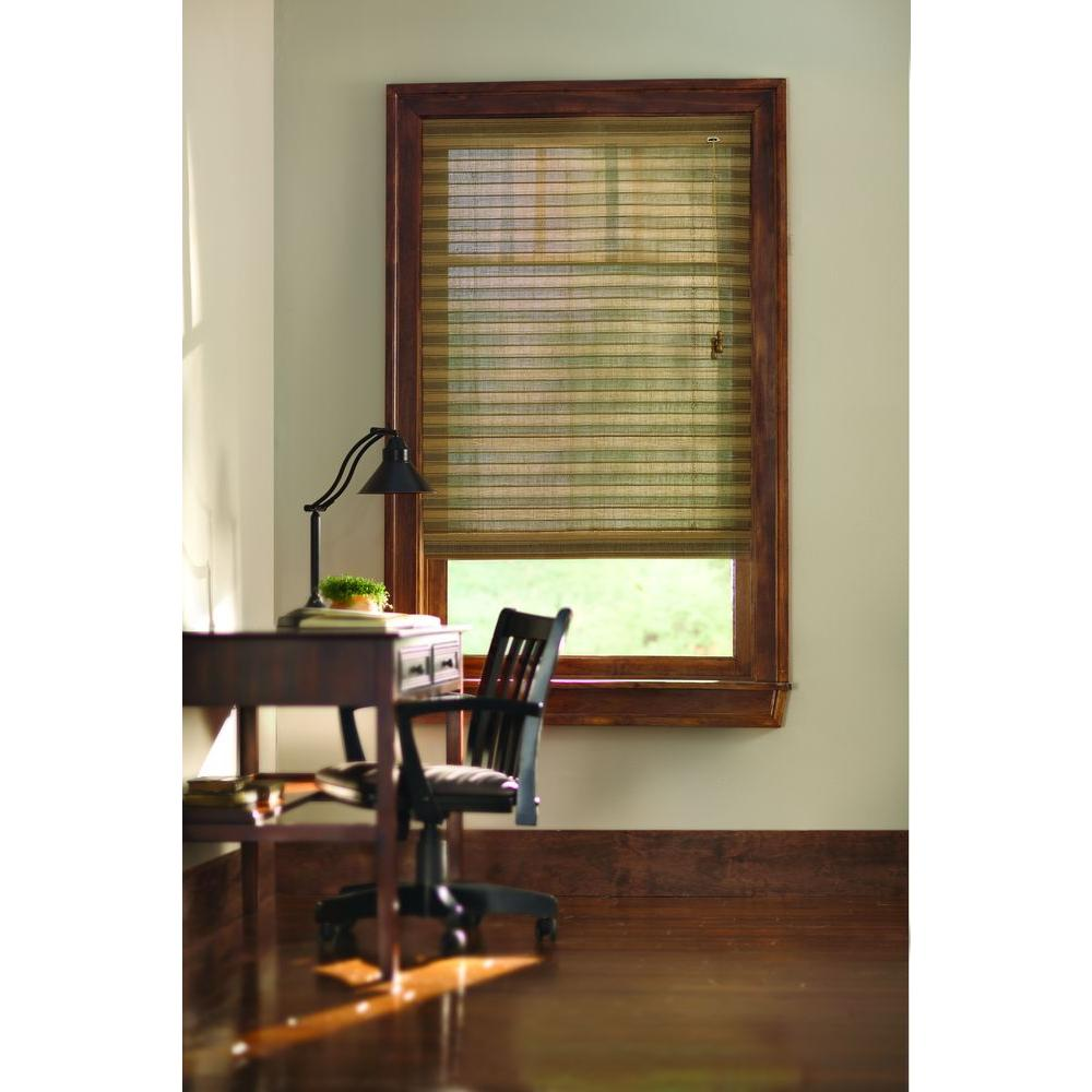 Natural Moss Multi-Weave Bamboo Roman Shade - 58 in. W x