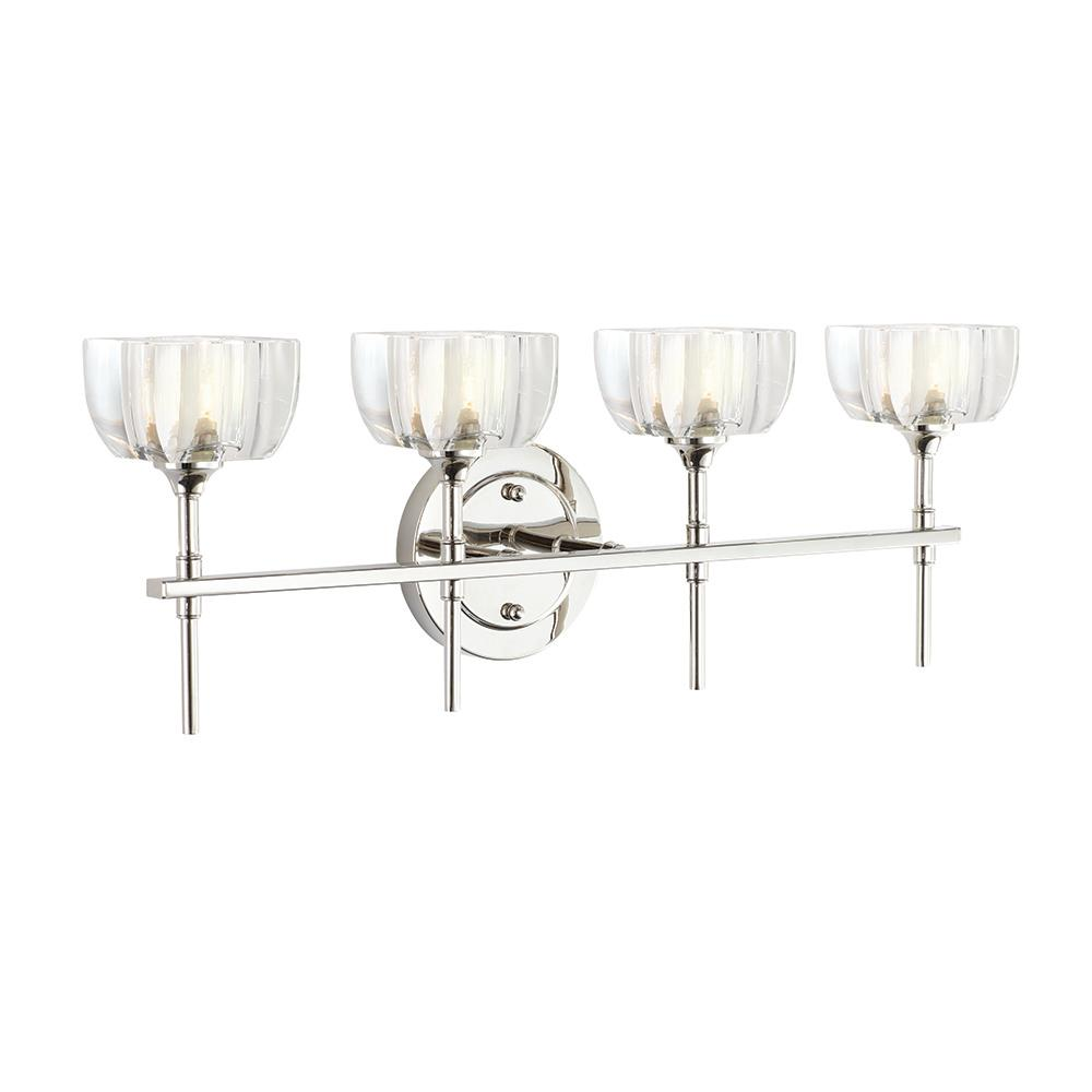 Home Decorators Collection Tulip 4 Light Polished Nickel Vanity Light Dc C2178 The Home Depot