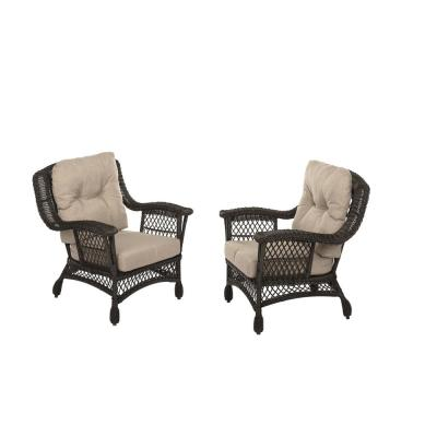 Cappuccino Wicker Outdoor Lounge Chairs with Light Brown Cushions (2-Pack)