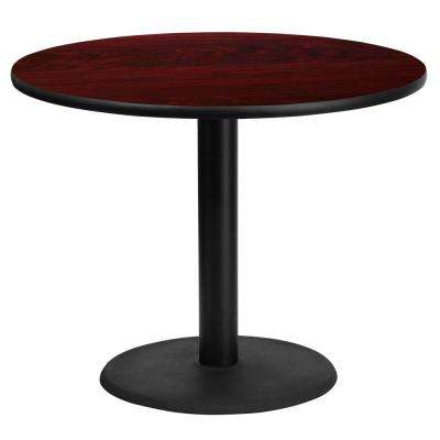 36 in. Round Mahogany Laminate Table Top with 24 in. Round Table Height Base