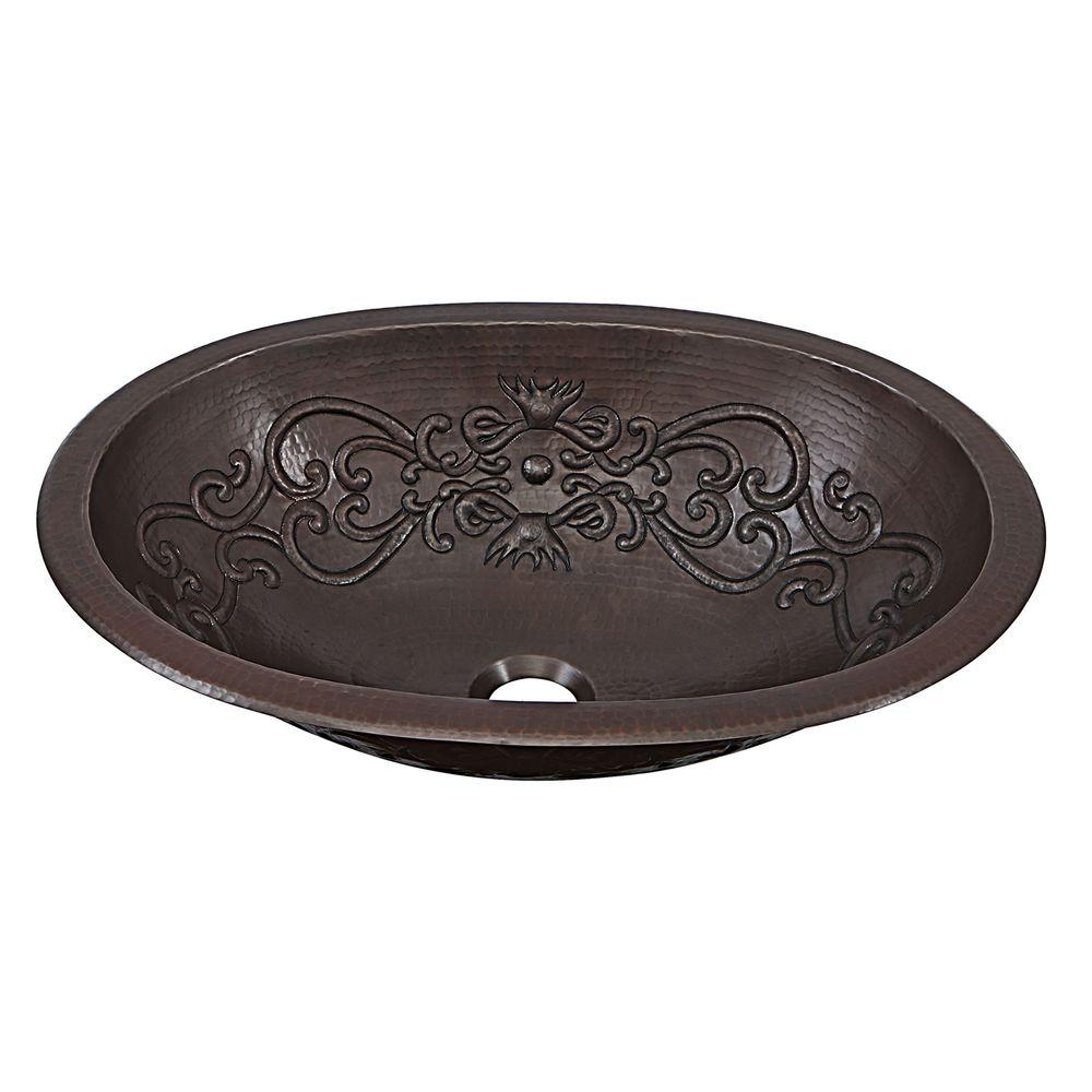 Pauling Dual Mount Handmade Pure Solid Copper Bathroom Sink with Scroll