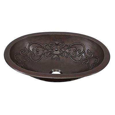 Pauling Dual Mount Handmade Pure Solid Copper Bathroom Sink with Scroll Design in Aged Copper