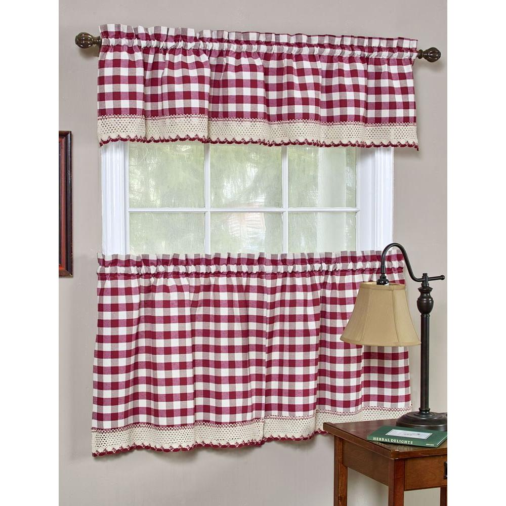 Semi-Opaque Buffalo Check Burgundy Rod Pocket Tier Pair with Macrame Trim