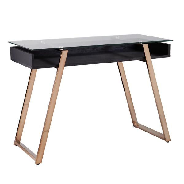 Southern Enterprises Szalena Black and Champagne Finish Writing Desk with Glass