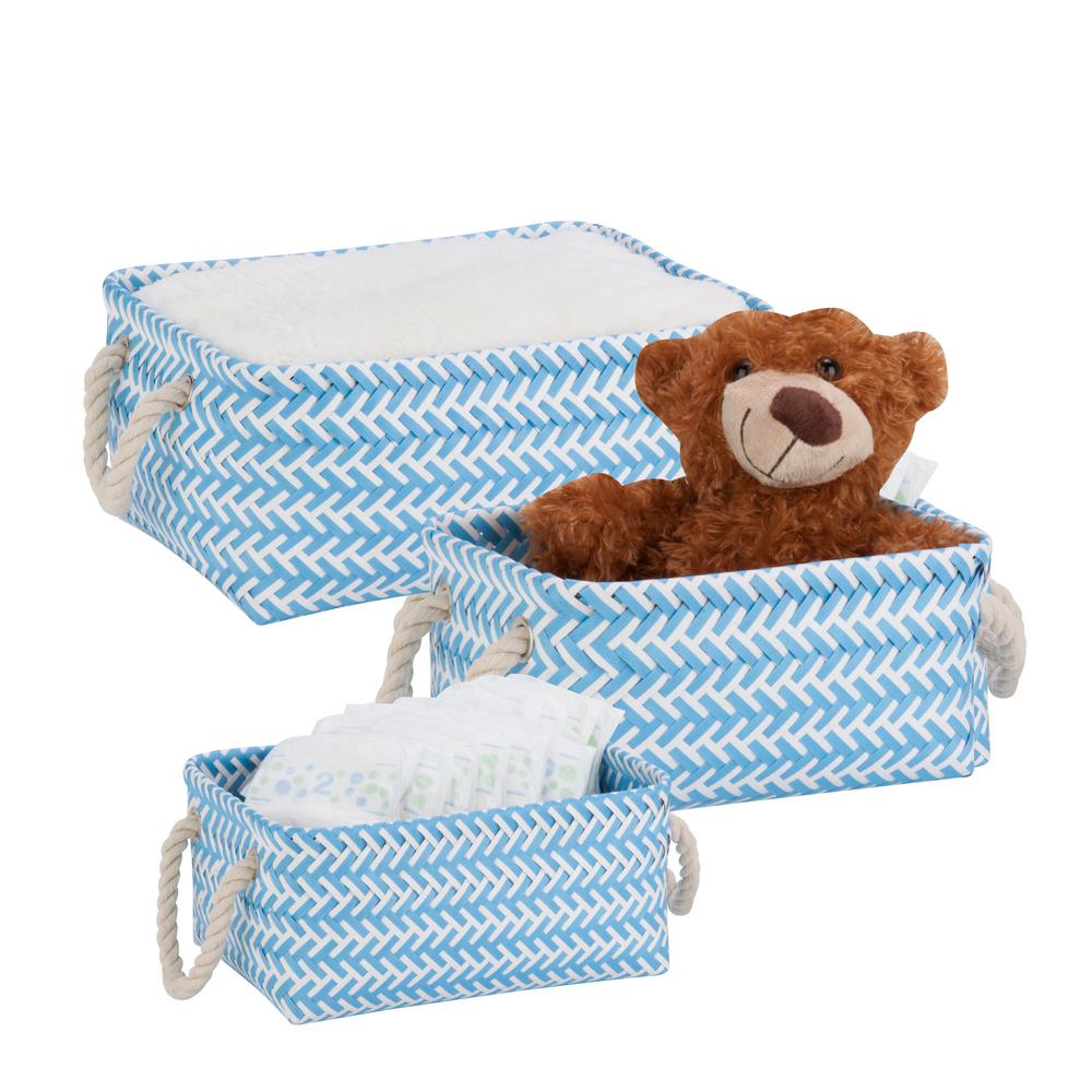 13 in. x 6 in. Light Blue Nestable PP Weave Storage