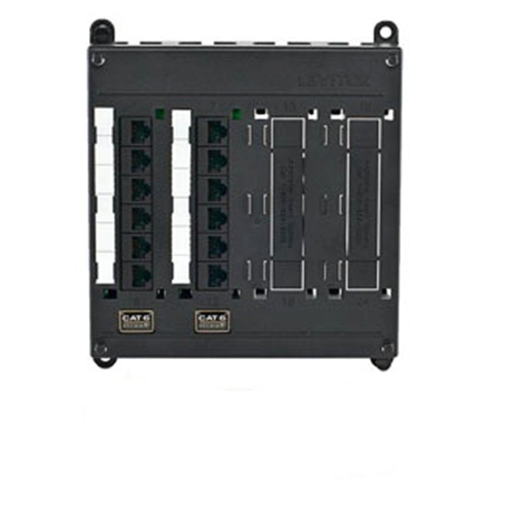 Leviton Structured Media Twist & Mount Patch Panel with 12 Cat 6 Ports - Black