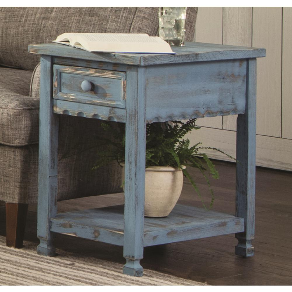 Country Cottage Blue Antique Chairside Table