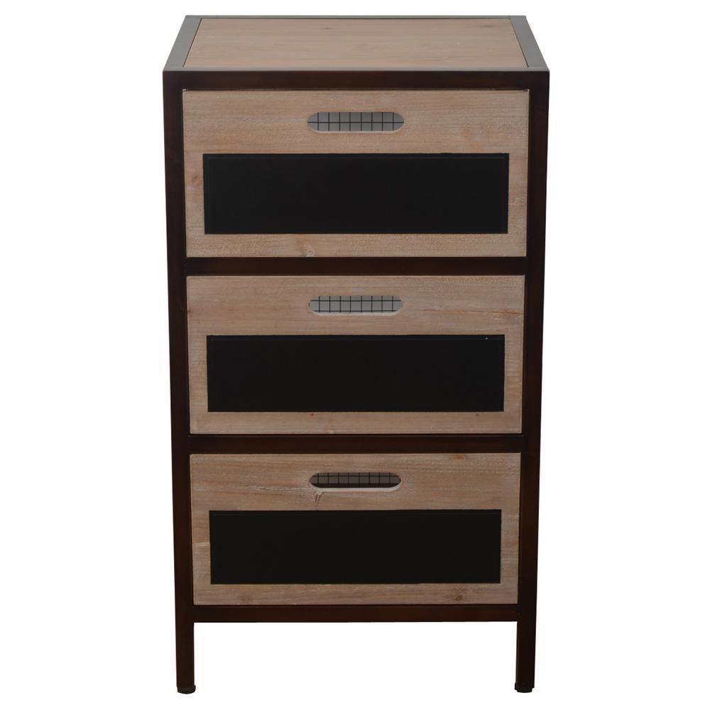 Distressed Brown Chalkboard Storage Drawer End Table
