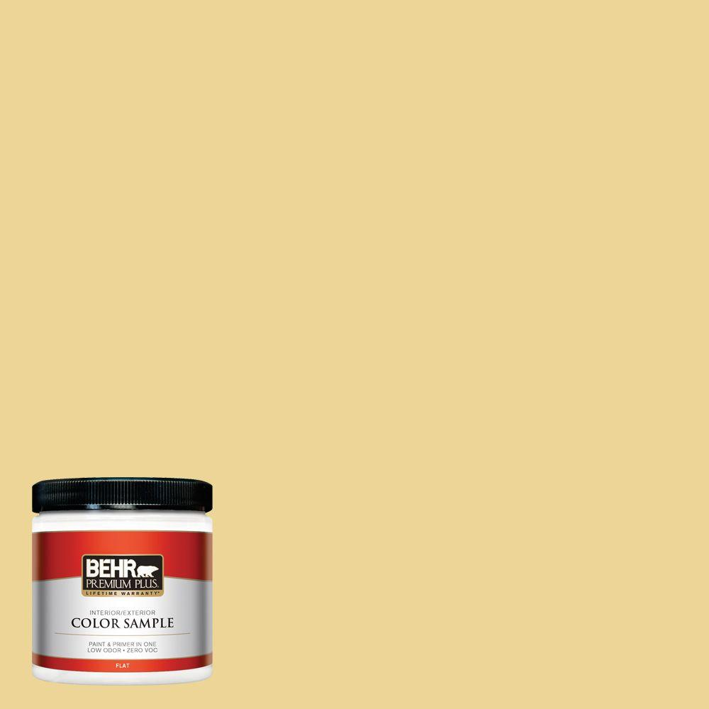 BEHR Premium Plus 8 oz  #370D-4 Mustard Seed Flat Interior/Exterior Paint  and Primer in One Sample