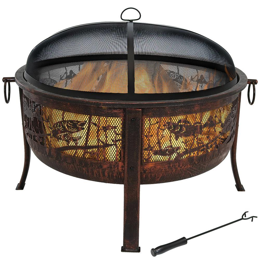 Sunnydaze Decor 30 in. x 25 in. Steel Northwoods Fishing Wood Burning Fire Pit with Spark Screen