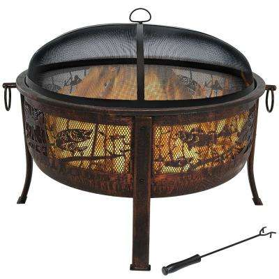 30 in. x 25 in. Steel Northwoods Fishing Wood Burning Fire Pit with Spark Screen