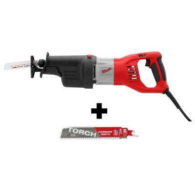 15 Amp 1-1/4 in. Stroke Orbital SUPER SAWZALL Reciprocating Saw W/ Hard Case & Carbide SAWZALL  Blade