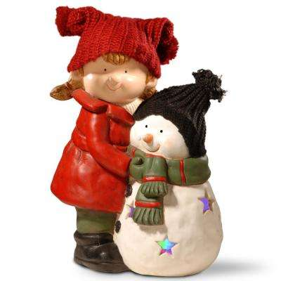 15 in. Lighted Girl and Snowman Decor