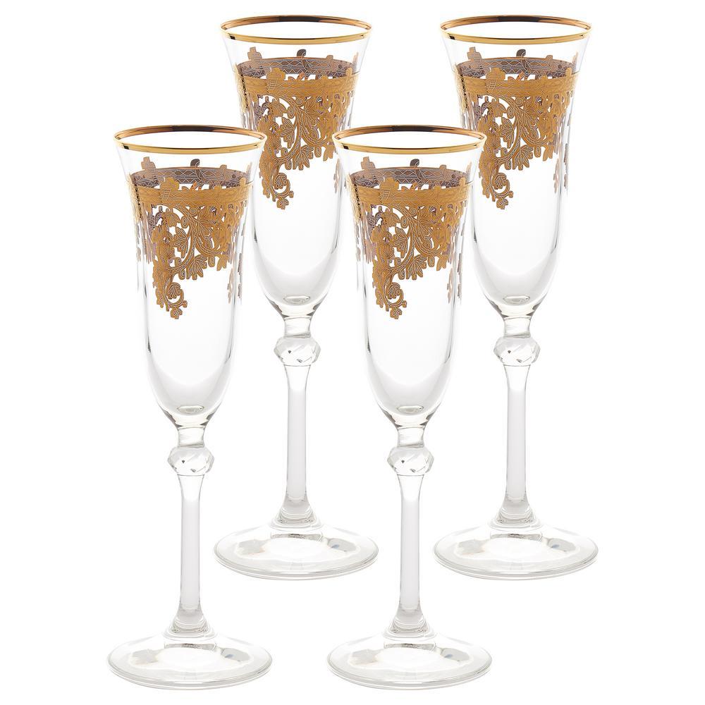 Embellished 24K Gold Crystal Flute Goblets (Set of 4)
