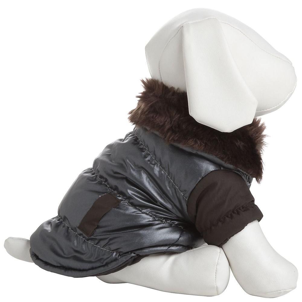 PET LIFE X-Small Brown Ultra Fur Collar Metallic Jacket