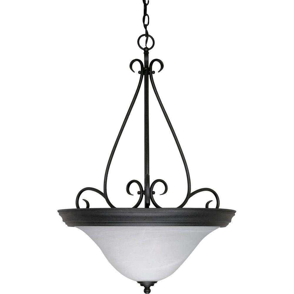 Glomar Adria 3-Light Textured Black Pendant