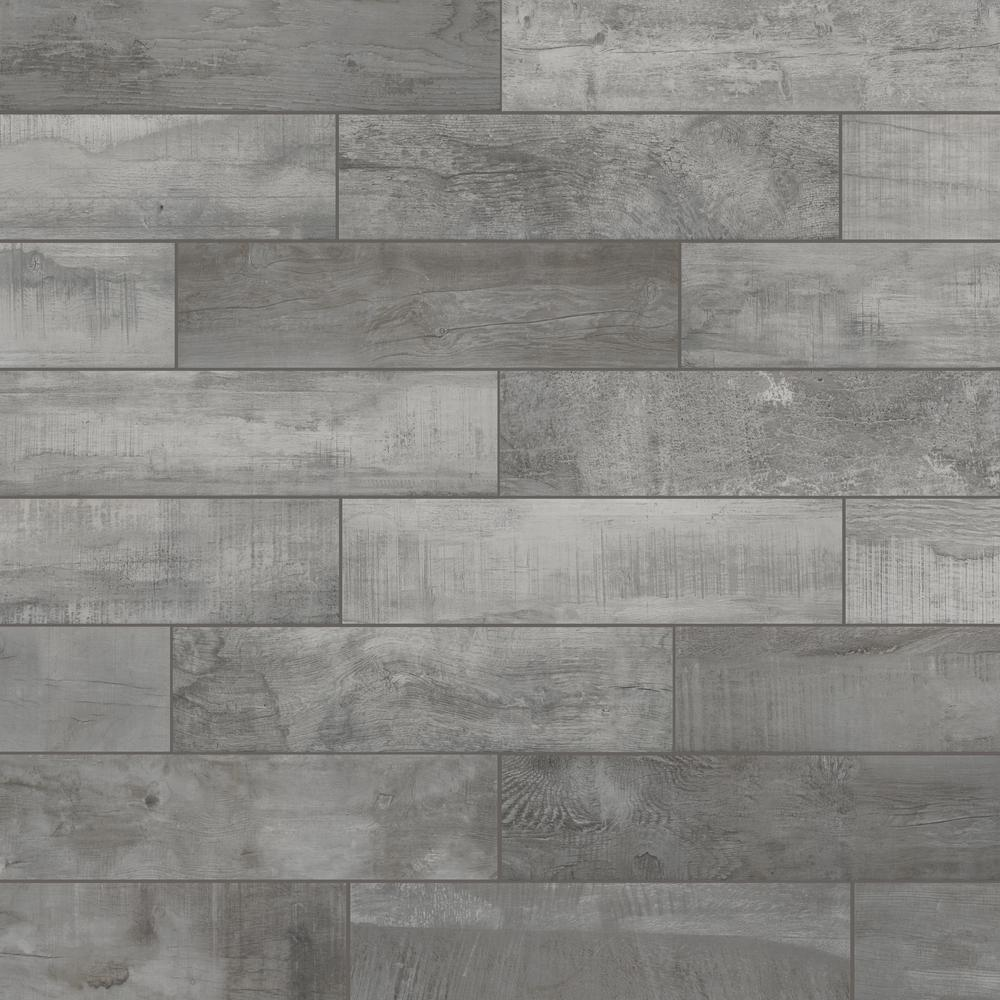 Florida Tile Home Collection Wind River Grey 6 in  x 24 in  Porcelain Floor  and Wall Tile (14 sq  ft  / case)