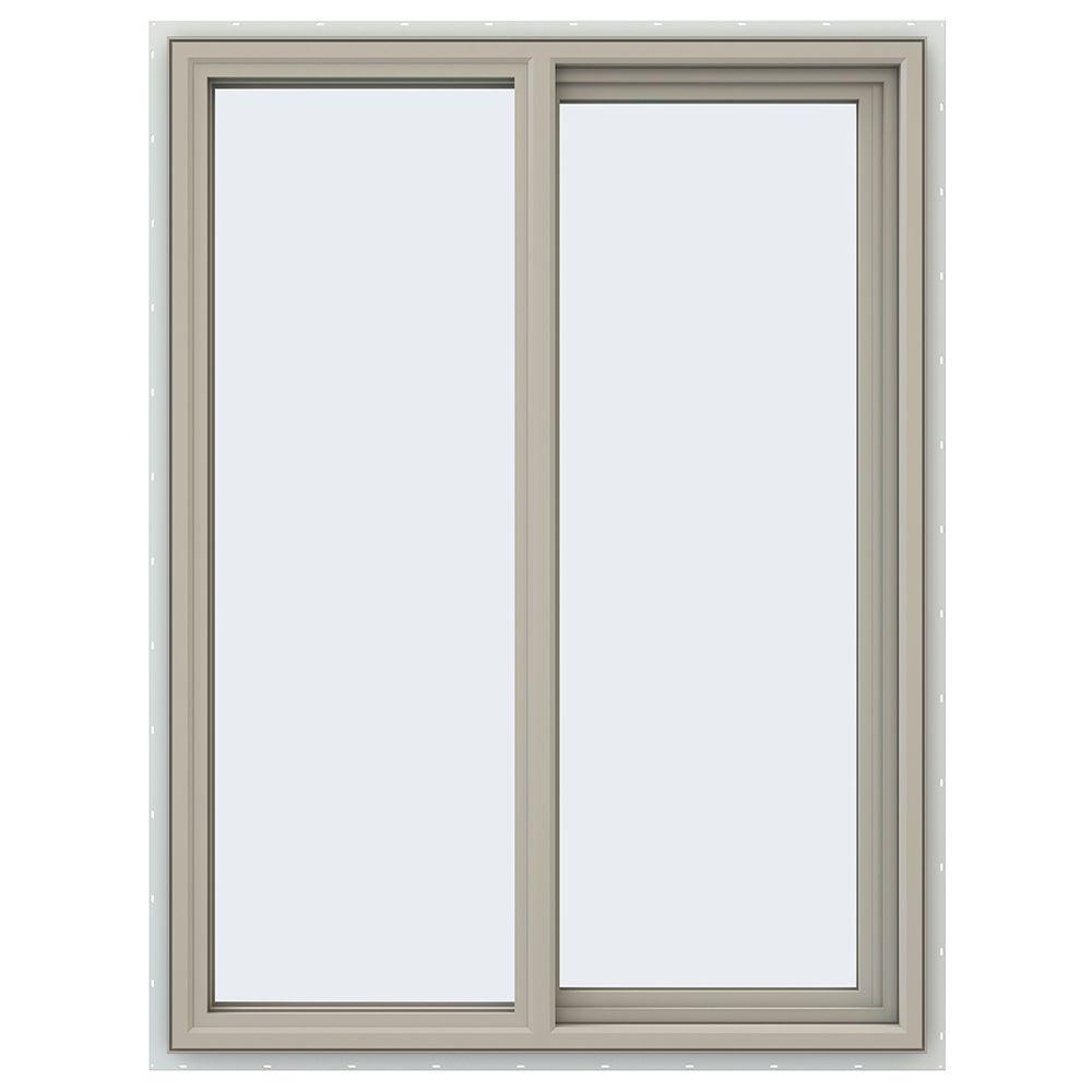 35.5 in. x 47.5 in. V-4500 Series Desert Sand Painted Vinyl Right-Handed Sliding Window with Fiberglass Mesh Screen