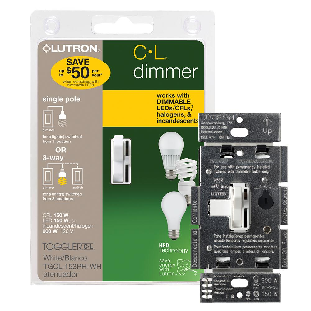 Lutron Toggler LED+ Dimmer Switch for Dimmable LED, Halogen and Incandescent Bulbs, Single-Pole or 3-Way, White
