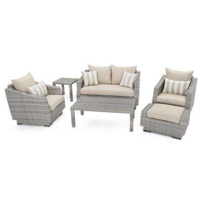 Cannes 6-Piece Patio Seating Set with Slate Grey Cushions