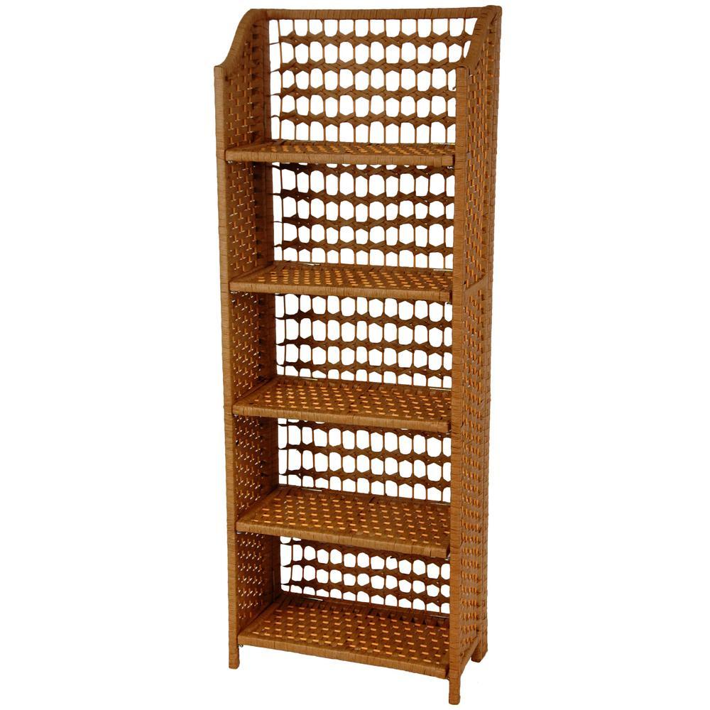 5-Shelf Honey Natural Fiber Shelving Trunk
