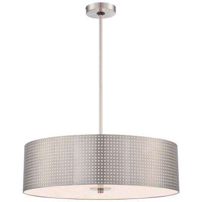 Grid 4 Light Brushed Nickel Pendant