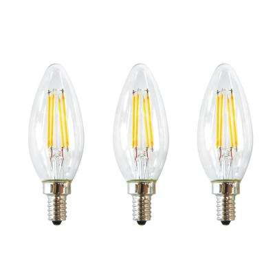 40-Watt Equivalent B11 E12 Base Dimmable Clear Filament Vintage Style LED Light Bulb, Daylight (3-Pack)