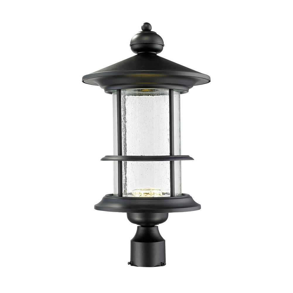 Outdoor Post Light Replacement Glass: Filament Design Burnim 1-Light Outdoor Black LED Post