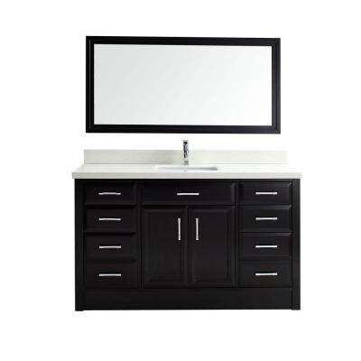 Calais 60 in. Vanity in Espresso with Solid Surface Marble Vanity Top in Carrara White and Mirror