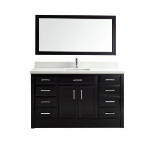 Studio Bathe Calais 60 inch Vanity in Espresso with Solid Surface Marble Vanity... by Studio Bathe