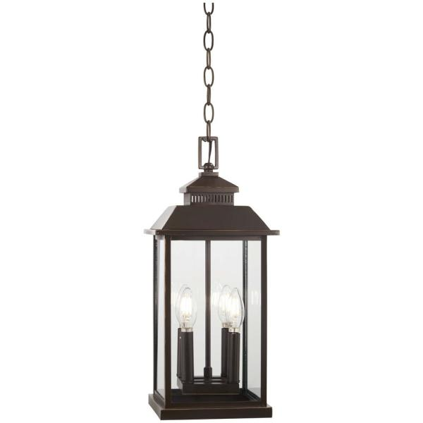 Miner's Loft Oil Rubbed Bronze Outdoor 4-Light Hanging Light with Gold Highlights