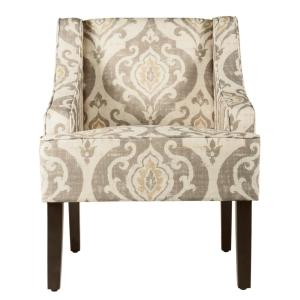 Homepop Tan Yellow And Cream Damask Suri Swoop Arm Accent