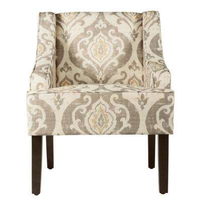 Tan, Yellow and Cream Damask Suri Swoop Arm Accent Chair