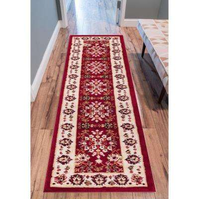 Miami Bijar Clic Traditional Oriental Red 2 Ft X 7 Runner Rug