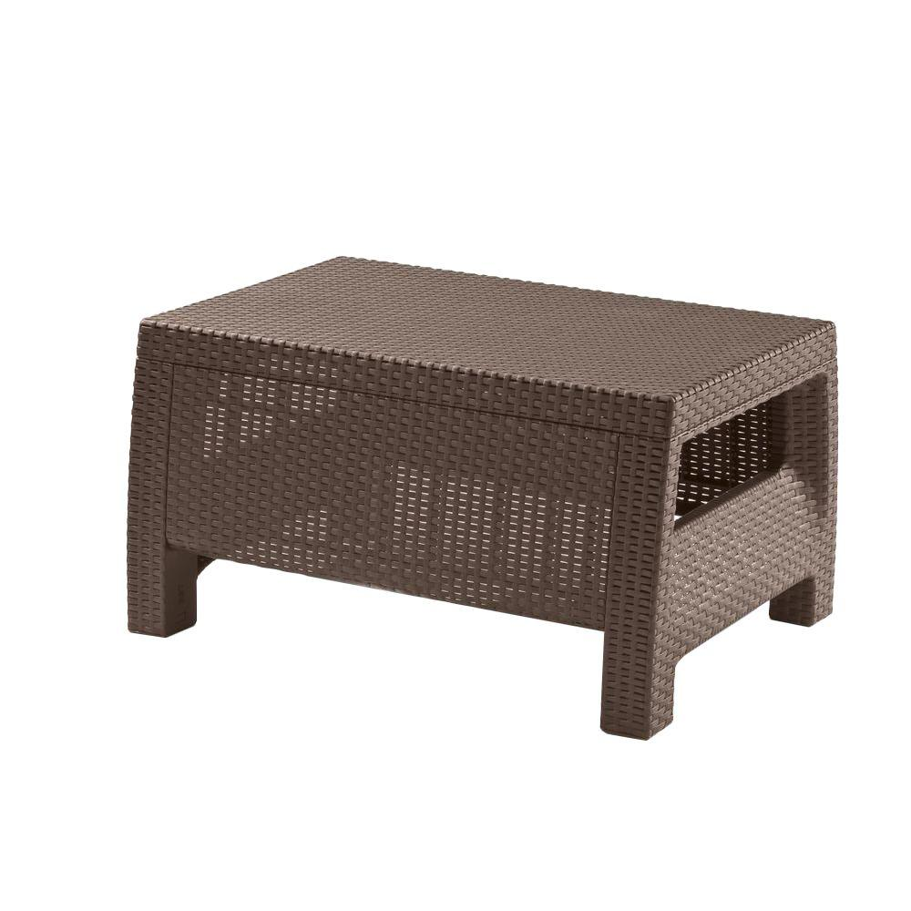 Outdoor Coffee Table: Keter Corfu Brown All Weather Patio Coffee Table-214722
