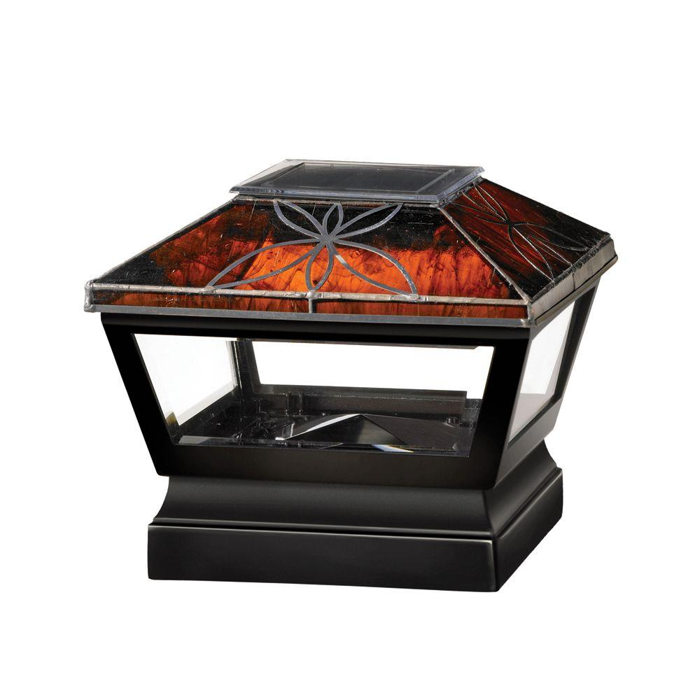 Veranda 5 in. x 5 in. Vinyl Solar Light Chestnut Top Pyramid Post Cap with Black Base