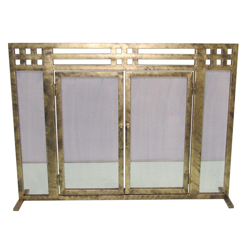 Layton Antique Gold Single-Panel Fireplace Screen