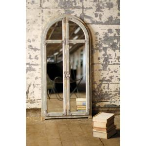 Arched Window Rustic Brown Wood Frame Wall Mirror